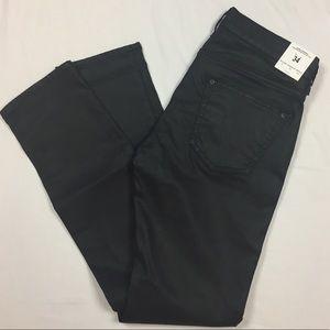 NWT Zara black coated denim cigarette leg …